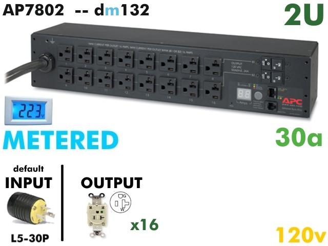 Apc Metered Pdu 120v 2u 30a Ap7802 Ap7802